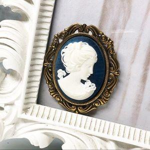Vintage Blue Cameo Brooch